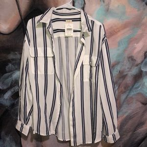 Oversized striped buttoned up shirt